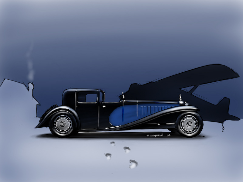 Bugatti Royale in the snow. Exploratory sketch for 2008 Christmas card.